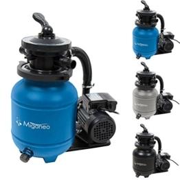 Miganeo 40385 Sandfilteranlage Dynamic 6500 Pumpleistung 4,5m³ blau, grau, schwarz, für Pool Schwimmbecken (Blau) -