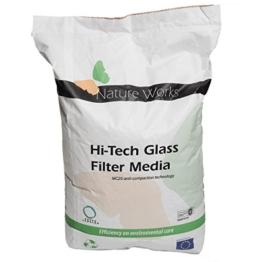 Nature Works Hi-Tech Filterglas (20 kg), umweltschonende Alternative zu herkömmlichem Filtersand für Pool-Sandfilteranlagen, Filtergranulat 0,4 - 0,8 mm -